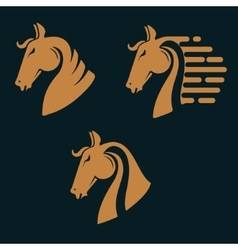 Set of horse head silhouettes vector