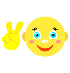 Smiley with victoria gesture v icons vector