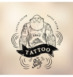 Tattoo santa old school studio skull vector