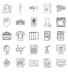 teaching icons set outline style vector image