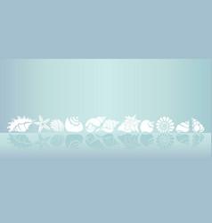 Template seashells line vector