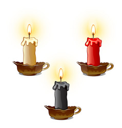 three burning wax candles white red and black vector image