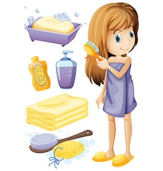 Woman combing hair and bathroom set vector image