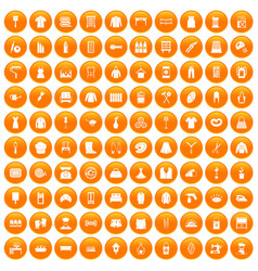 100 needlework icons set orange vector