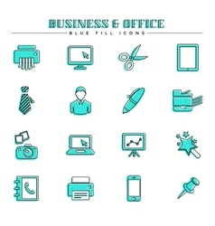 Business and office blue fill icons set vector image