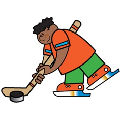 Boy playing hockey vector