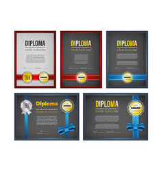 Diploma certificate design set vector