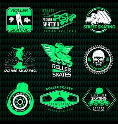 Roller skating emblems vector