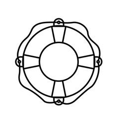 Black silhouette of flotation hoop with rope vector