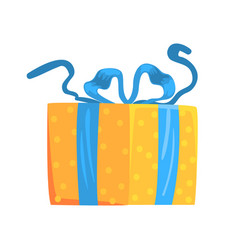 Yellow gift box with blue ribbon cartoon vector