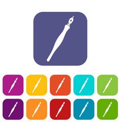 Fountain pen icons set flat vector