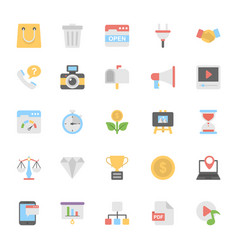 Web design flat colored icons 5 vector
