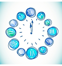 Clock Watercolor elements vector image