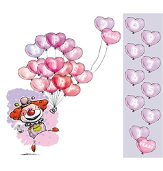 Clown with heart balloons saying happy anniversary vector