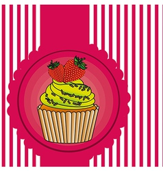 Cupcake label on bottom lines vector