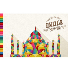 Travel india landmark polygonal monument vector