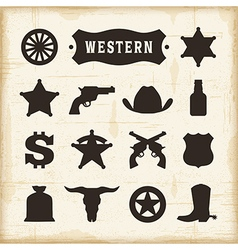 Vintage western icons set vector