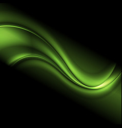 Green iridescent abstract wavy background vector