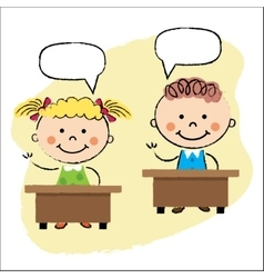 Kids in classroom sitting at the desks vector