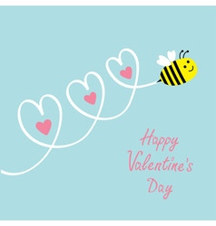 Happy valentines day love card cute flying bee vector