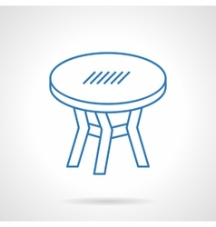 Round table blue flat line icon vector