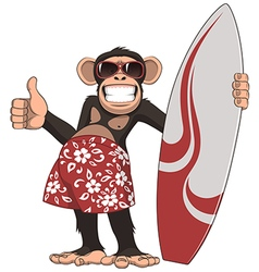 Funny monkey surfer vector
