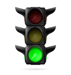 Traffic light with green lamp vector