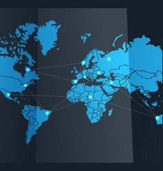 Social network abstract scheme on the Earth map vector image