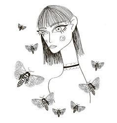 Abstract girl with butterflies vector