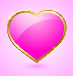 Pink and golden heart vector