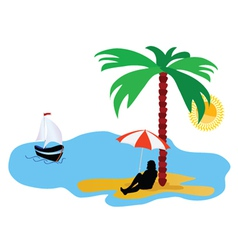 Beach with palm tree and sea and summer idyll vector