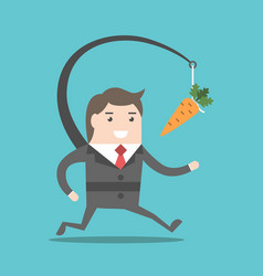 businessman chasing carrot vector image