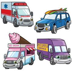 Cartoon of medium van car set vector