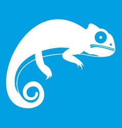 Chameleon icon white vector