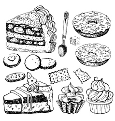 Collection of Hand Drawn Bakery Goods vector image