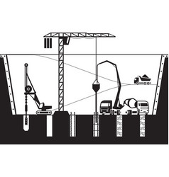 construction of foundations of a building vector image vector image