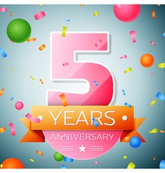 Five years anniversary celebration background vector