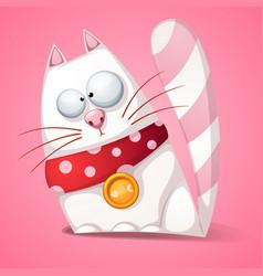 funny cute crazy cartoon cat vector image vector image