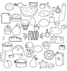 Hand drawn cut food outline vector