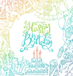 Hand-drawn happy birthday square background vector