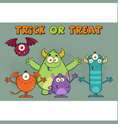 Happy monsters cartoon characters vector