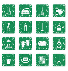 house cleaning icons set grunge vector image vector image