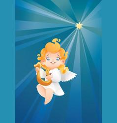 Kid angel musician harpist flying on a night sky vector