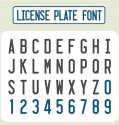 License plate font Car identification number style vector image vector image