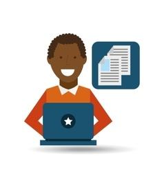 man afroamerican using laptop document media icon vector image