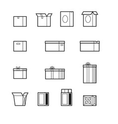 Open and close boxes set made in line style vector