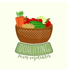 Painted logo design of full vegetable basket with vector