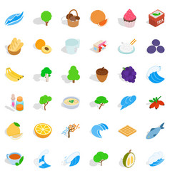 Realistic icons set isometric style vector