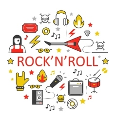 Rocknroll Line Art Thin Icons Set vector image vector image