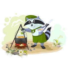 Scout raccoon cooking soup over campfire Summer vector image